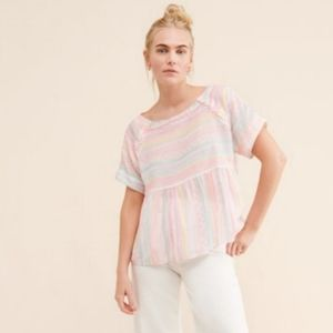 Anthropologie Neon Striped Baby Doll Top Blouse